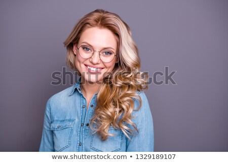 Portre güzel sarışın kadın gözlük seksi gözlük Stok fotoğraf © Aikon
