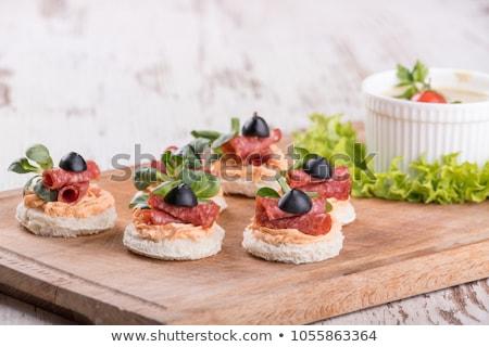 Salami apéritif tranche pain alimentaire bois Photo stock © Digifoodstock