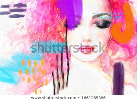 Style moderne Fantasy portrait belle jeune femme visage Photo stock © konradbak