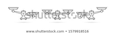 Kiegyensúlyozott súly mérleg ikon szett kék vektor Stock fotó © adrian_n