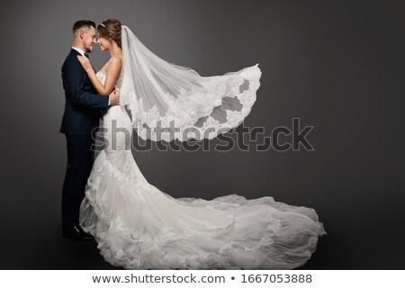 Portret mooie bruid naar camera vrouw Stockfoto © deandrobot
