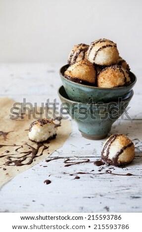 Coconut cookies dipped in dark chocolate Stock photo © Digifoodstock