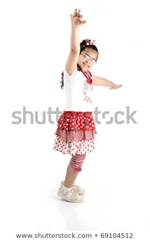 Halfbloed aanbiddelijk cute weinig schoolmeisje portret Stockfoto © zurijeta