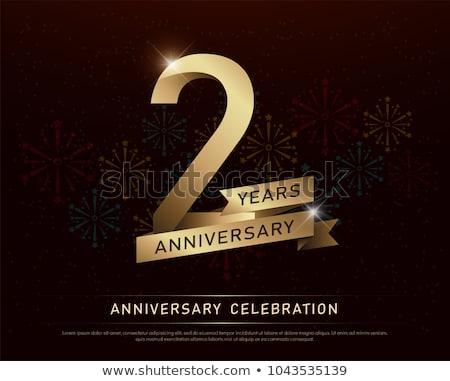 Segundo aniversario celebración tarjeta plantilla cumpleanos Foto stock © SArts