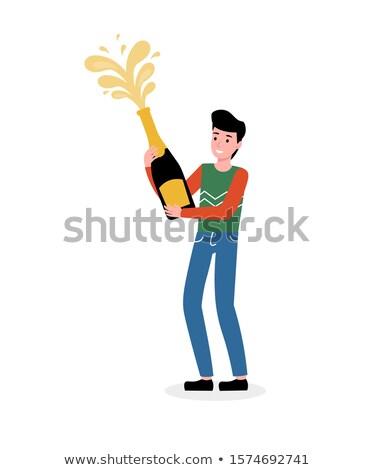 homme · ouverture · champagne · bouteille · célébration · club - photo stock © kzenon