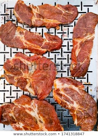 Pezzo carne pan sopra view greggio Foto d'archivio © dash