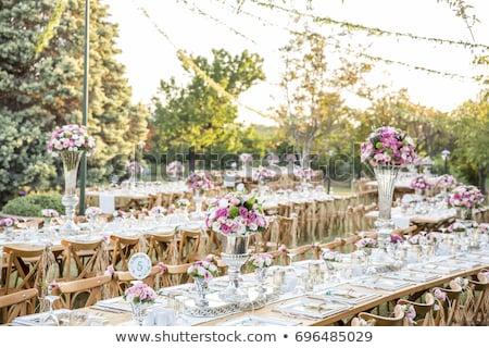 Düğün ziyafet sandalye tablo dekore edilmiş mumlar Stok fotoğraf © ruslanshramko