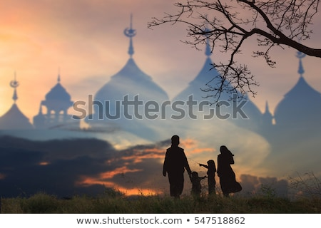 Muslim family and mosque Stock photo © colematt