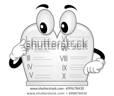 Ten Commandments Stone Tablet Mascot Illustration Stock photo © lenm
