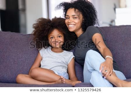 Foto schönen Frau lächelnd anfassen afro Stock foto © deandrobot