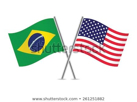 Iki bayraklar Amerika Birleşik Devletleri Brezilya yalıtılmış Stok fotoğraf © MikhailMishchenko
