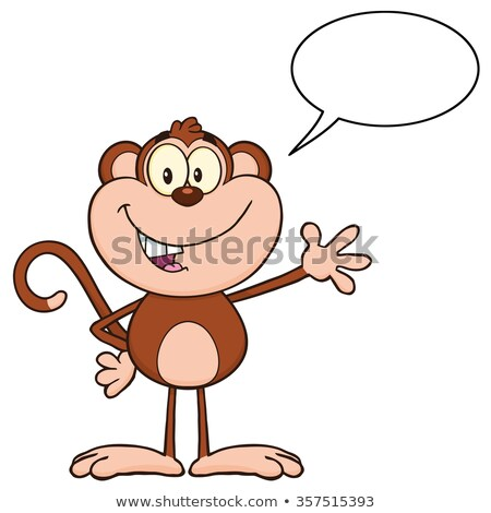 cute monkey cartoon character waving for greeting and speech bubble stock photo © hittoon