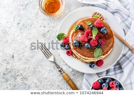 Zoete pannenkoeken jam plaat tabel voedsel Stockfoto © tycoon