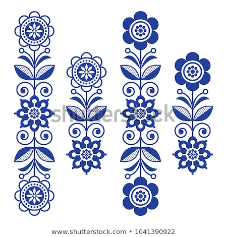 Scandinavian floral design elements, folk art patterns - long stripes in black and white Stock photo © RedKoala