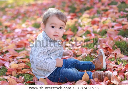 Close up portrait of cute, adorable, toddler boy wearing denim overalls, long T-shirt, sitting on th Stock photo © ElenaBatkova