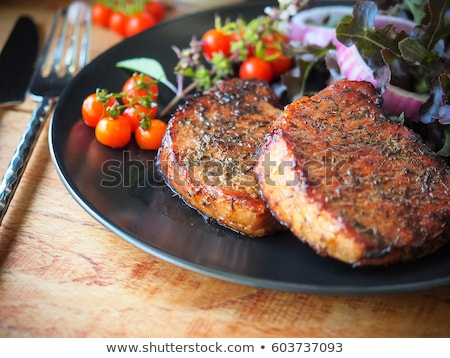Pork chop with vegetables. Stock photo © fanfo