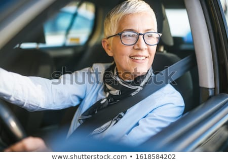 ストックフォト: 幸せ · 笑みを浮かべて · シニア · 女性 · 黒 · 車
