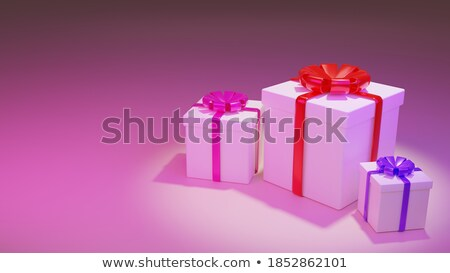 Drie witte dozen Rood boeg roze Stockfoto © ISerg