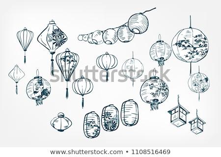 Japanese Lantern Festive Ornament Retro Vector Stock photo © pikepicture