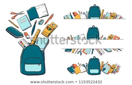 Mochila material escolar livros vetor colorido livros didáticos Foto stock © robuart