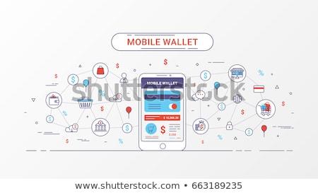 Elektronicznej portfela banner stylu projektu Zdjęcia stock © shai_halud
