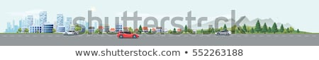 street with buildings and cars on roads vector stock photo © robuart