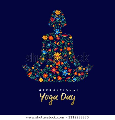 Yoga Day meditation card of person in lotus pose Stock photo © cienpies