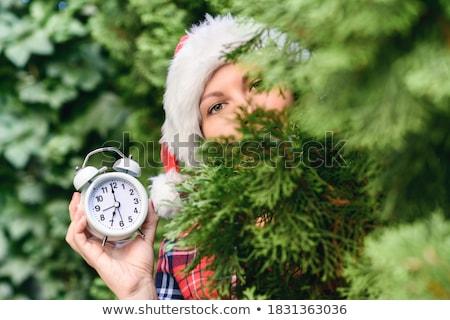 christmas · wekker · geschenkdoos · tak · houten · tafel - stockfoto © karandaev