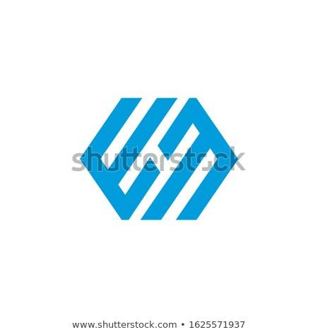 Linear geometric outline alphabet Letter E, Simple Logo Design, Blue graphic element for typography  Stock photo © kyryloff