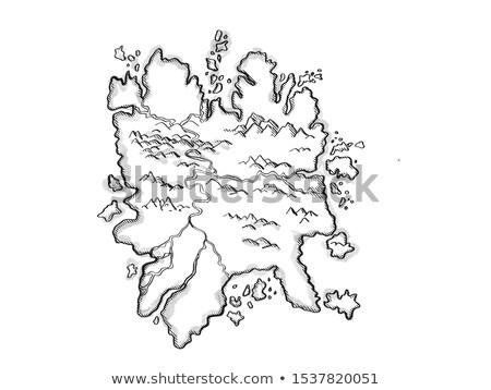 島 山 河川 ヴィンテージ ファンタジー 地図 ストックフォト © patrimonio