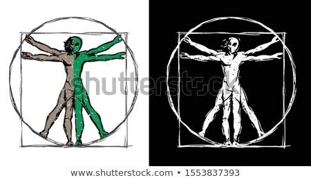 Vitruvian Man UFO Alien Hybrid Sketch Isolated Vector Illustration Stock photo © jeff_hobrath