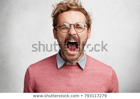 Panika biznesmen krzyczeć pop art retro Zdjęcia stock © studiostoks