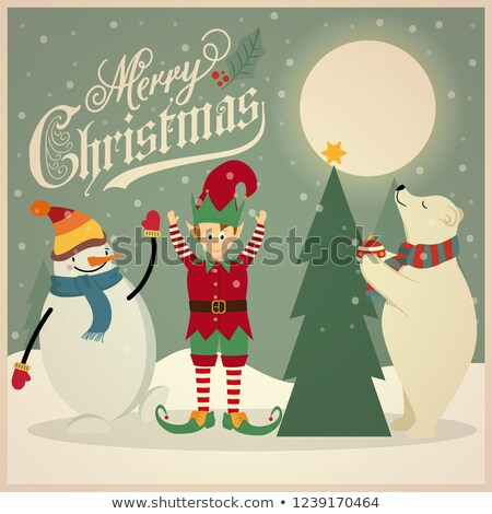 retro christmas card with polar bear elf and snowman that adorn stock photo © balasoiu