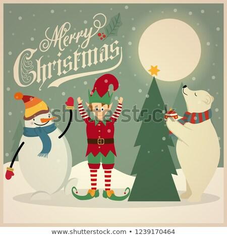 Retro oso polar elfo muñeco de nieve árbol de navidad Foto stock © balasoiu
