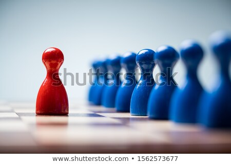 Red Pawns In Front Of Blue Pawns On Chessboard Stock photo © AndreyPopov