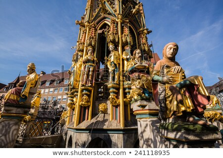 Szökőkút Németország gyönyörű fő- piac tér Stock fotó © borisb17