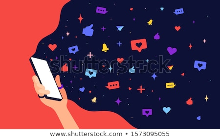 modern flat character hand of woman holds phone with cloud universe stock photo © foxysgraphic