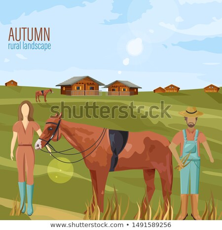 Agricultores casal outono vetor mulher Foto stock © frimufilms