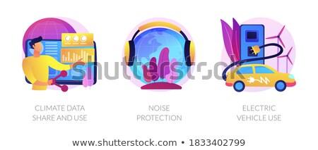 Klimat danych hałasu ochrony elektryczne pojazd Zdjęcia stock © RAStudio