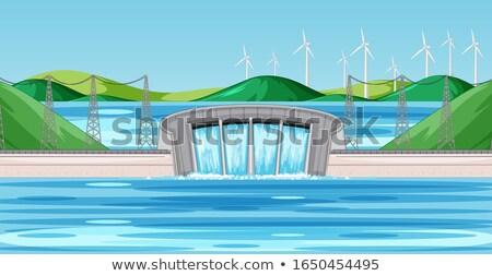 シーン 水 風力タービン 丘 実例 風景 ストックフォト © bluering