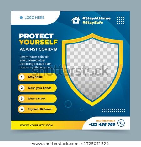 Coronavirus brochure web design modèle main Photo stock © Anna_leni