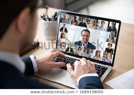 Człowiek koronawirus wideo konferencji pracować w domu uśmiech Zdjęcia stock © AndreyPopov