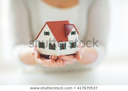 close up of hand holding house or home model Stock photo © dolgachov