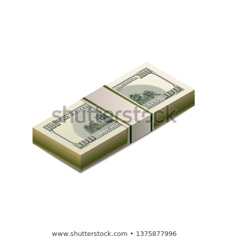 Stack of dummy one hundred US dollars banknote from back side in isometric view on white Stock photo © evgeny89