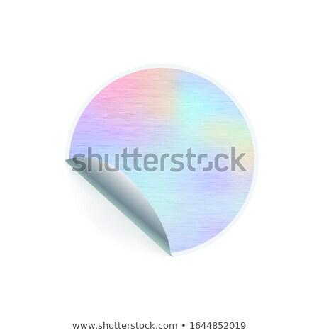 Round shaped trendy sticker with hologram pattern on white Stock photo © evgeny89