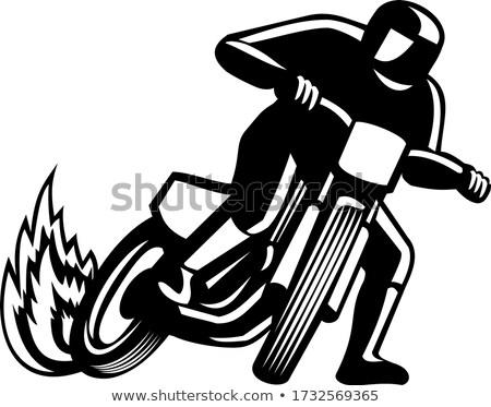 Kosz útvonal versenyzés feketefehér illusztráció motorkerékpár Stock fotó © patrimonio