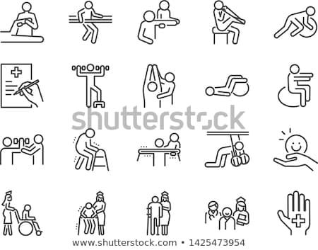 Fizioterápia gyógyulás ikon szett vektor futópad testmozgás Stock fotó © pikepicture