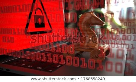 Trojański konia notebooka danych tabeli Zdjęcia stock © limbi007