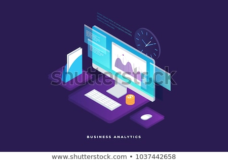 Graph On Computer Monitor Financial isometric icon Stock photo © pikepicture