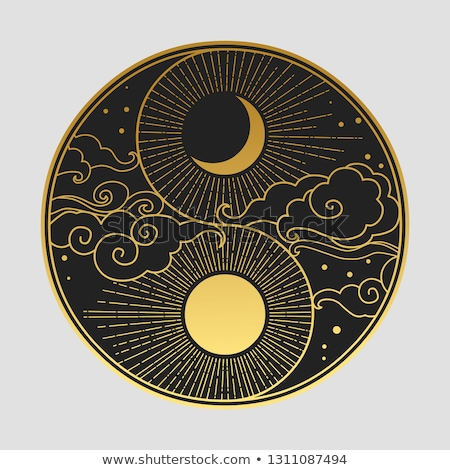 Yin yang illusztráció emberi pálma absztrakt terv Stock fotó © vectomart